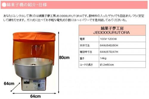 レンタル綿菓子機の仕様